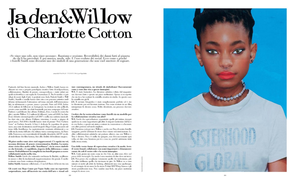 Interview with Willow and Jaden Smith, <i>Vogue Italia</i>, October 2019