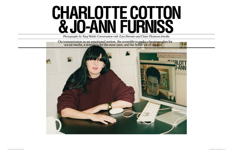 Cover image for project titled Transmission: Charlotte Cotton in Conversation with Jo-Ann Furniss and Ezra Petronio