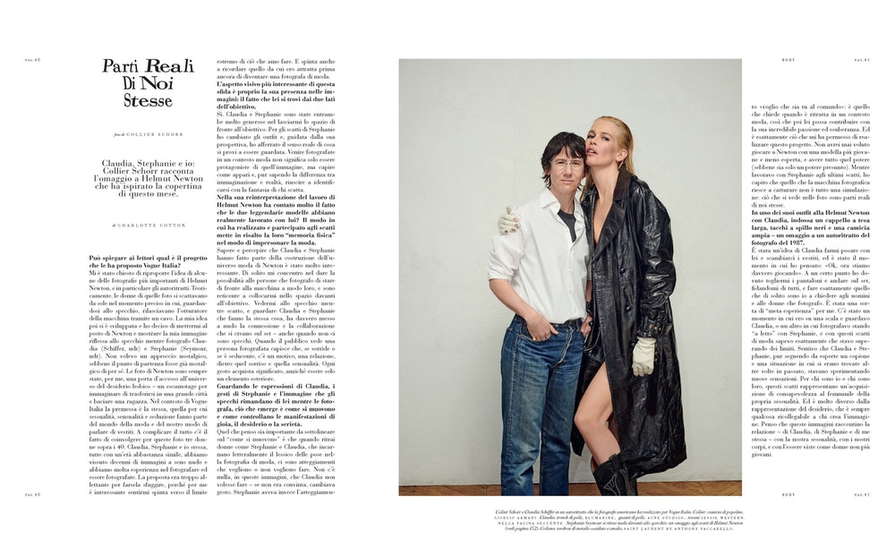 Interview with Collier Schorr,<i> Vogue Italia</i>, August 2019