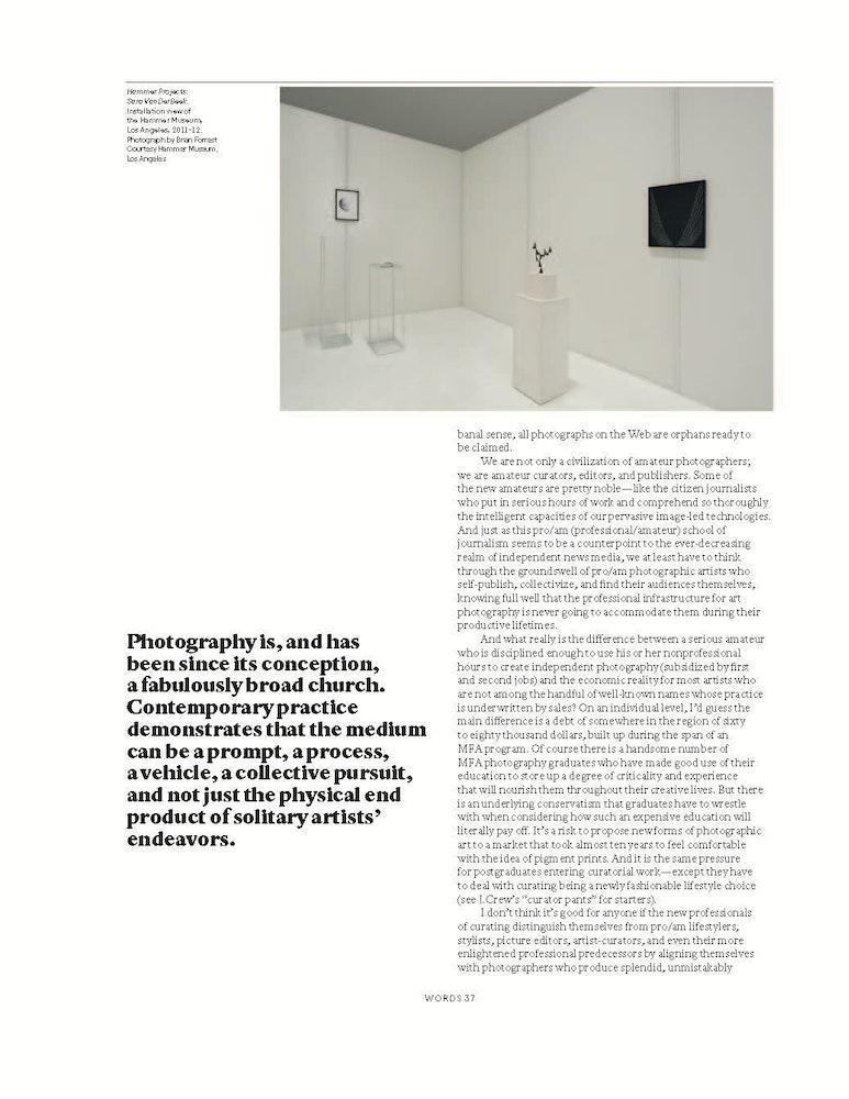 'Nine Years, A Million Conceptual Miles',<i> Aperture</i> magazine, Spring 2013